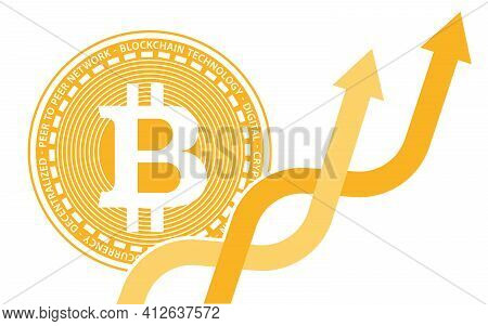 Two Coins Of Digital Cryptocurrency Bitcoin From Behind Two Intertwining Multicolored Orange Arrows