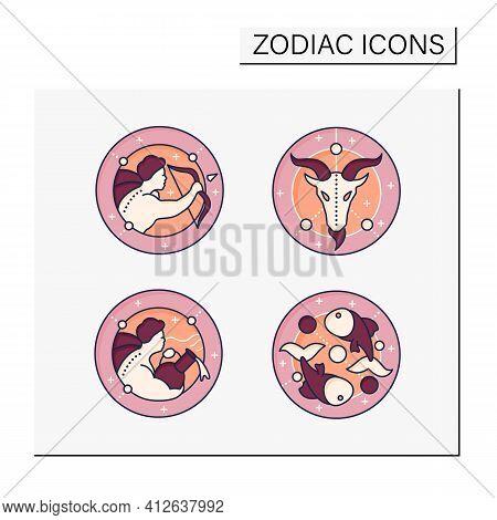 Zodiac Color Icons Set. Fourth Fire Signs In Zodiac.birth Symbols.aquarius, Sagittarius, Capricorn,