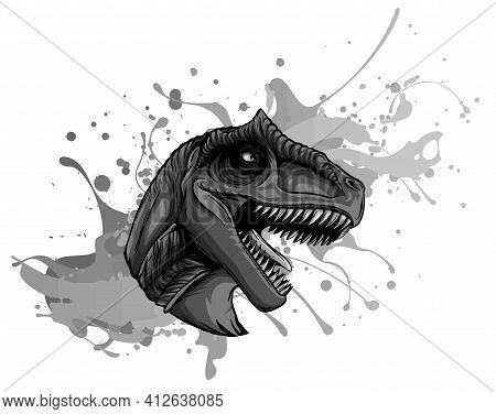 Monochromatic Vector Illustration Of A T Rex, Tyrannosaurus Rex Dinosaur Ripping Through A Wall