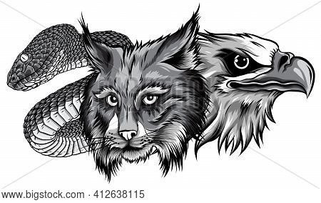 This Is An Eagle Lynx Snake Heads Mascot Monochromatic