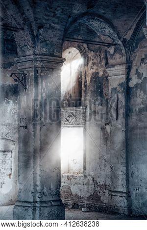 Interior Of Dark Creepy Abandoned Lutheran Church Of The Virgin Mary