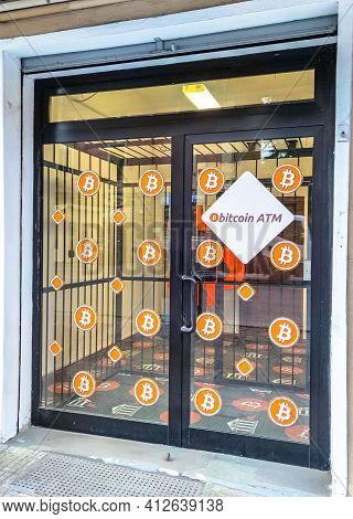 Bologna, Italy - March 12, 2021: Bitcoin Atm Shop To Buy And Sell Bitcoins In Euro Currency. Future