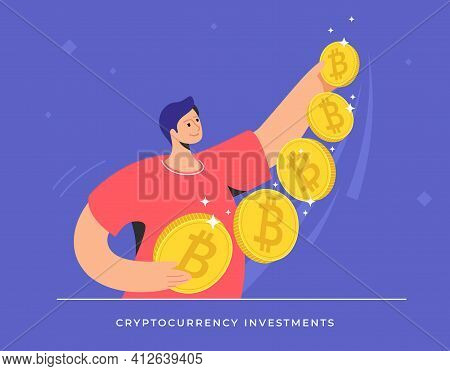 Young Man Standing Alone And Holding Five Golden Bitcoins. Flat Modern Concept Vector Illustration O