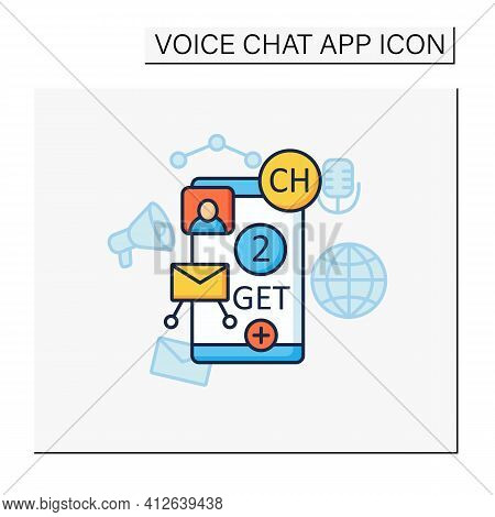 Drop-in-audio Chat Invite Color Icon. Communication Application With Friends.invitation Link. Invite