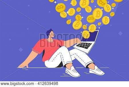 Young Man Sitting Alone And Buying Or Selling Bitcoins On Laptop. Flat Modern Concept Vector Illustr