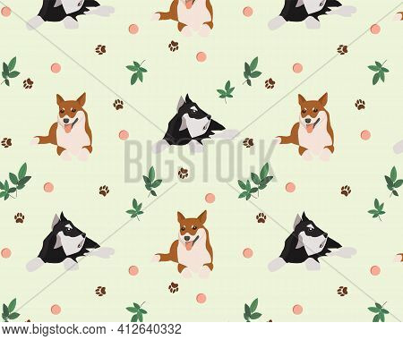 Seamless Vector Texture For Fashion Prints. The Pattern Of Animals Is Scattered Randomly. Vector Ill