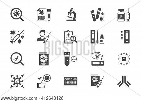 Coronavirus Test Flat Icons. Vector Illustration Include Glyph Icon - Vaccine Clinical Trial, Antibo