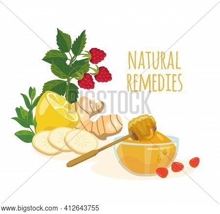 Natural Remedies Ingredients Lemon, Ginger, Mint, Raspberry, Honey. Folk Medicine Concept. Home Trea