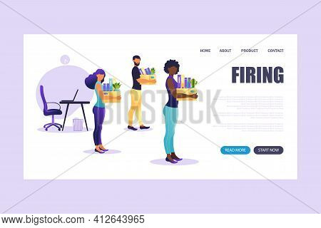 Landing Page Of Firing Employee. People Standing With Offices Box With Things. Unemployment Concept,