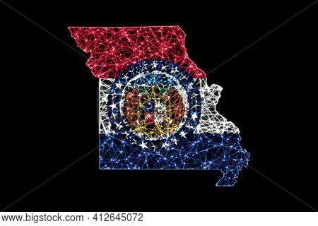 Map Of Missouri, Polygonal Mesh Line Map, Flag Map