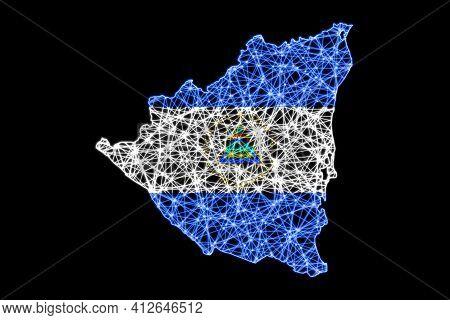 Map Of Nicaragua, Polygonal Mesh Line Map, Flag Map