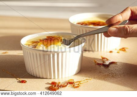 Creme Brulee - Traditional French Vanilla Cream Dessert With Caramelised Sugar On Top.