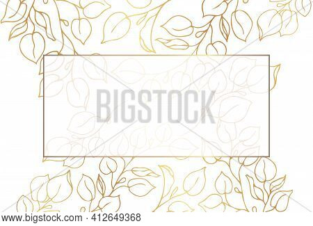 Gold Frame. Set Of Gilded Leaves And Branches On A White Background With Place For Text.