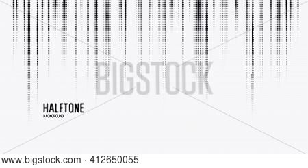Monochrome Printing Raster, Abstract Vector Halftone Background.