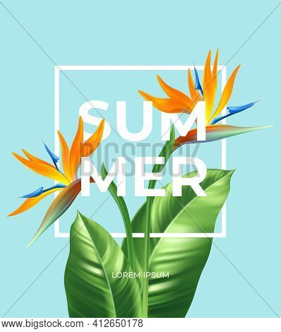 Summer Tropical Background With Strelitzia Flowers And Tropical Leaves. The Inscription Summer On A