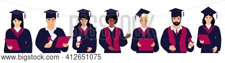 A Group Of Diversity Students In Graduation Gowns And Mortarboards. Class Of 2021