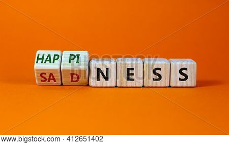 Happiness Or Sadness Symbol. Turned Cubes And Changed The Word 'sadness' To 'happiness'. Beautiful O