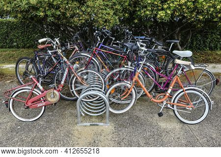 Vrsar, Croatia - May 22, 2020: Bicycle Parking In Old Town Of Vrsar, Croatia. Municipal Bike Parking