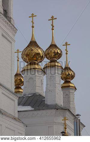 Golden Domes Of The Church Of Archangel Michael In The Village Of Mikhailovskoye, Ivanovo Region