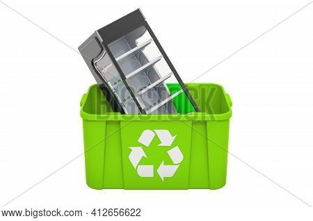 Recycling Trashcan With Display Case Showcase, 3d Rendering Isolated On White Background