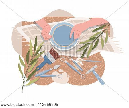 Hands Making And Decorating Plate Vector Flat Top View. Tools For Making Pottery, Kitchen Utensil, T