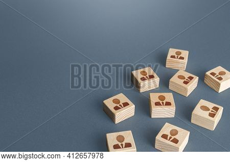 Figurine Blocks With People Workers Businessmen. Copy Space. Recruiting And Staffing. Search And Rec