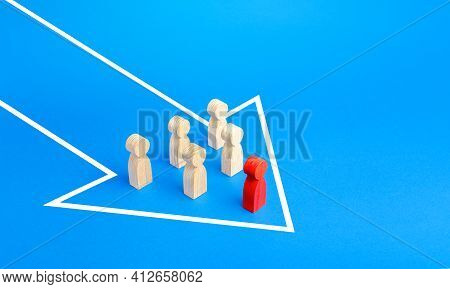Figures Of People Under The Leadership Of Leader Moving In A Single Arrow Direction. Follow The Goal