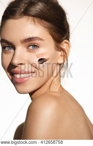Beauty And Skincare Concept. Healthy Woman Applying Facial Mask, Nourish And Balance Face Tone, Soot