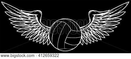 Realistic Volley Ball With Wings Silhouette In Black Background