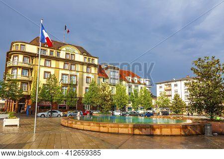 Colmar, France - May 2, 2019: Railway Station Square (place De La Gare) In Colmar City, Alcase, Fran