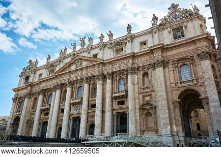 View Of The Facade Of St. Peter's Basilica At Saint Peter's Square In The Vatican City In Rome, Ital