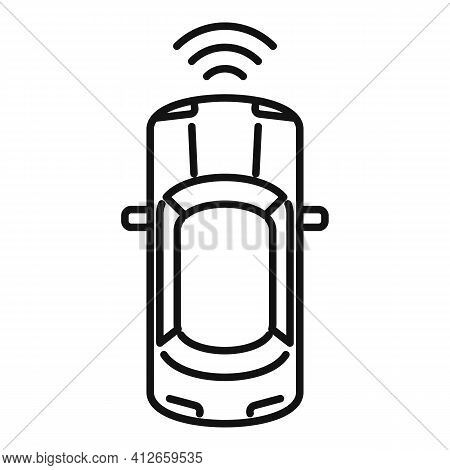 Top View Driverless Car Icon. Outline Top View Driverless Car Vector Icon For Web Design Isolated On