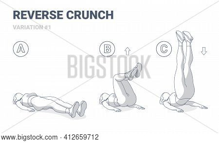 Reverse Crunch Female Workout Exercise Guide Illustration. Woman In Sportswear Working On Her Abs.