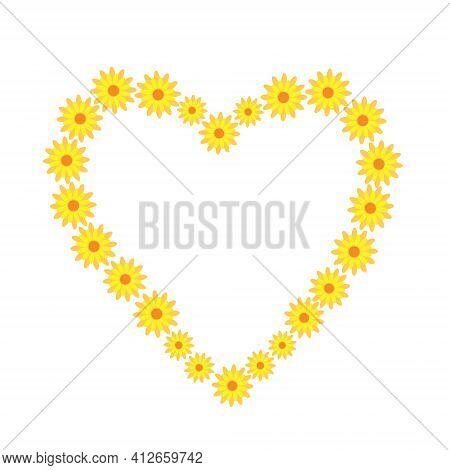 Yellow Cute Fancy Flower Heart Arrangement Vector Illustration In Simple Flat Style, Floral Composit