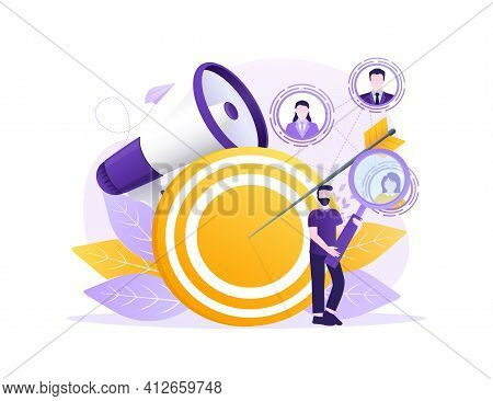 Target Customers In Abstract Style. Icon For Marketing Design. Vector Illustration.