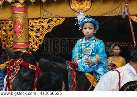 Bagan, Myanmar: May, 25, 2016. First Ordination As Monk In Myanmar. Boys Are Dressed As Princes In H