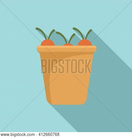 Full Carrot Bucket Icon. Flat Illustration Of Full Carrot Bucket Vector Icon For Web Design