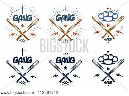 Baseball Bats Crossed Vector Criminal Gang Logos Or Signs Set, Gangster Style Theme.