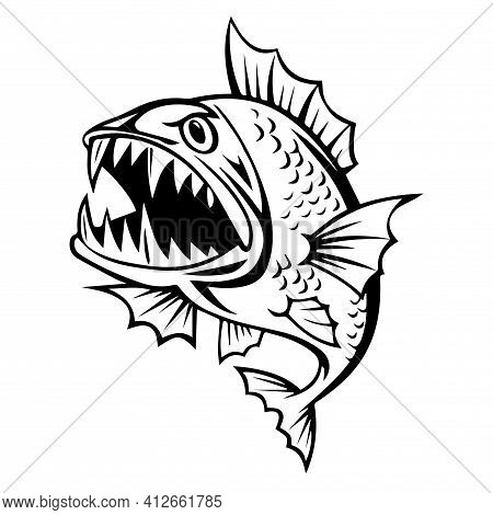 Stylized Vector Image Of A Predatory Fish (piranha) With An Open Toothy Mouth
