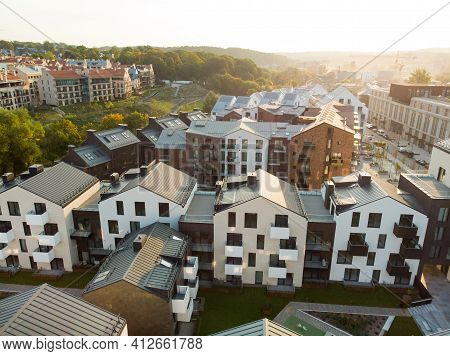 Aerial View Of Residential Area In Vilnius, Lithuania. New Modern Apartment Complex. Low Rise Europe