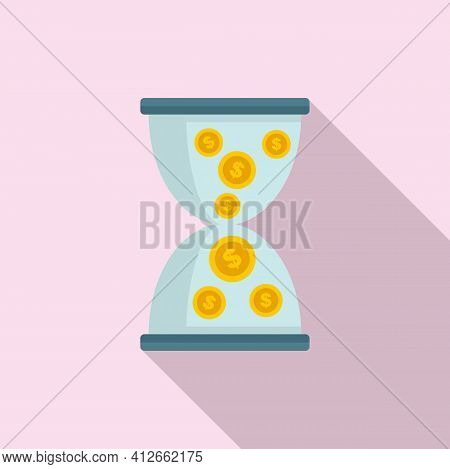 Money Hourglass Icon. Flat Illustration Of Money Hourglass Vector Icon For Web Design