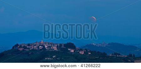 Full Moon over Umbrian Landscapes, Italy