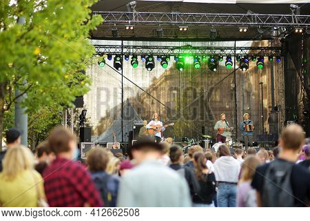Vilnius, Lithuania - September 5, 2020: People Attending Annual Nations Fair, Where Masters From The