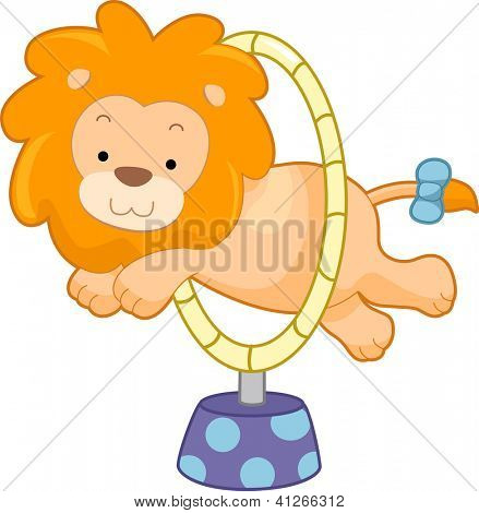 Cartoon illustration of a Circus Lion jumping through hoop sideview