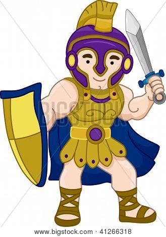 Illustration of an Ancient Greek Warrior