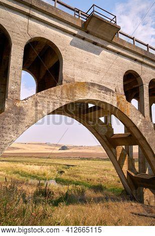 Historic Rosalia Railroad Bridge Arch Vertical. The Palouse Valley Through An Arch In The Rosalia Ra