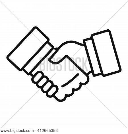 Affiliate Marketing Handshake Icon. Outline Affiliate Marketing Handshake Vector Icon For Web Design