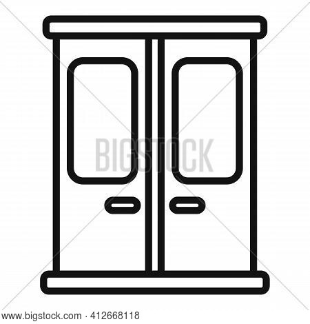 Metro Train Door Icon. Outline Metro Train Door Vector Icon For Web Design Isolated On White Backgro