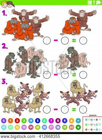 Cartoon Illustration Of Educational Mathematical Subtraction Puzzle Task For Children With Apes And