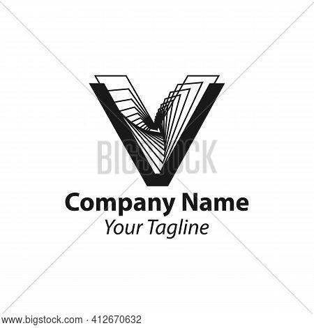 Letter V Logo,square Shape Line Style, Symbol,digital,technology,media.eps 10